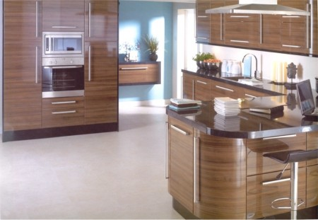 Kitchens Kildare Apollo Dark Walnut Gloss Kitchen Gloss Black