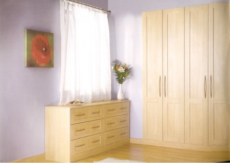 The Arcadia Maple Shaker inspired bedroom design is available from Gee's Kitchens, Wardrobes & Flooring of Kildare
