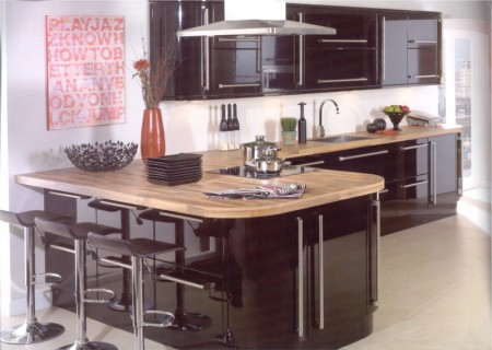 Kitchens Kildare Neptune Black Gloss Kitchen High Gloss Kitchen